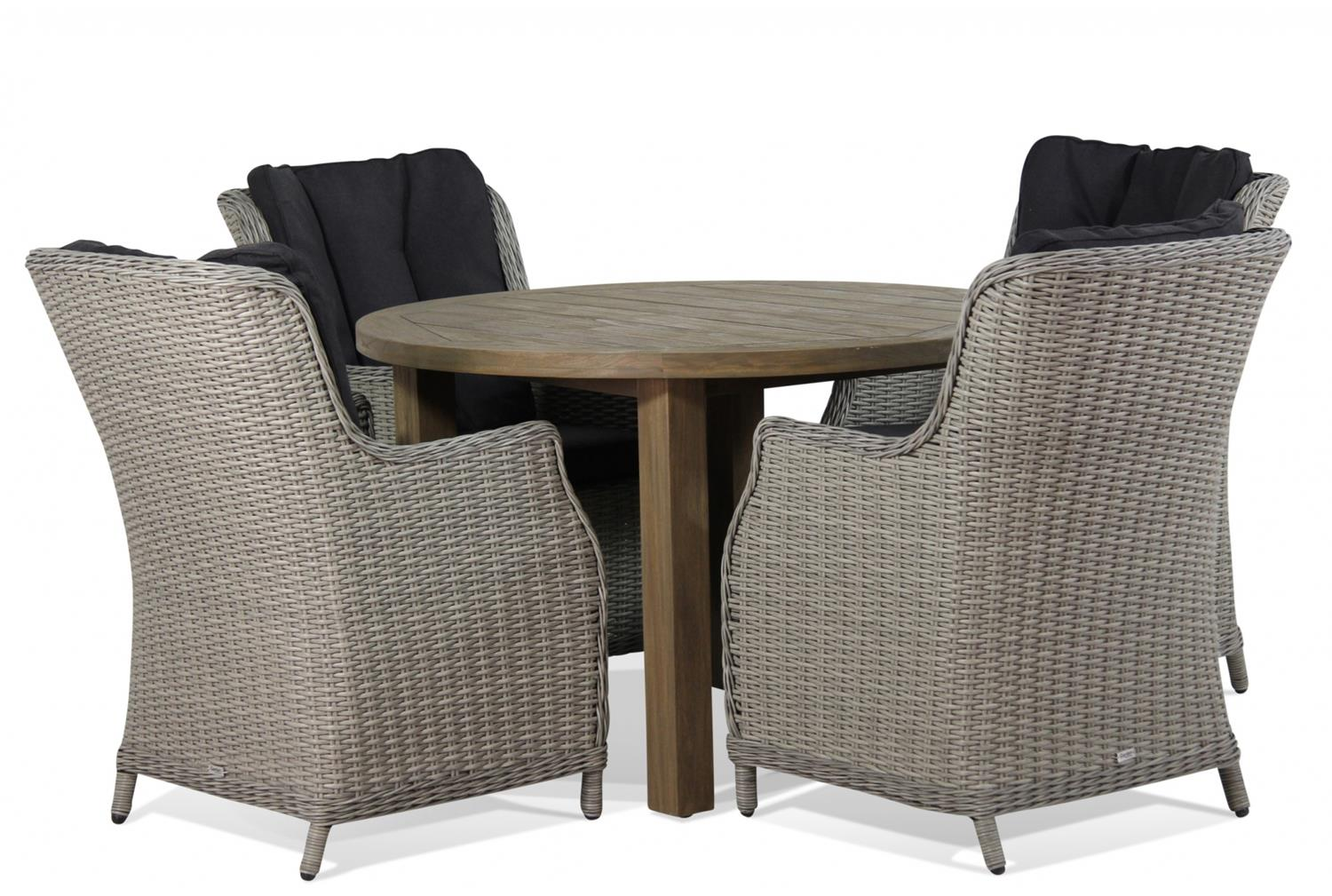 Wicker Garden Collections Buckingham/Oxford 120 cm dining tuinset 5-delig