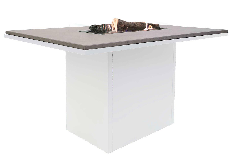 Cosiloft relax vuurtafel wit met aluminium blad 120x80x70cm