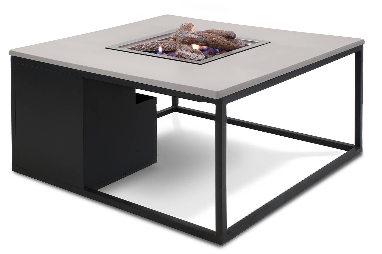Cosiloft lounge vuurtafel 100 x 100 cm black frame - alu grey blad