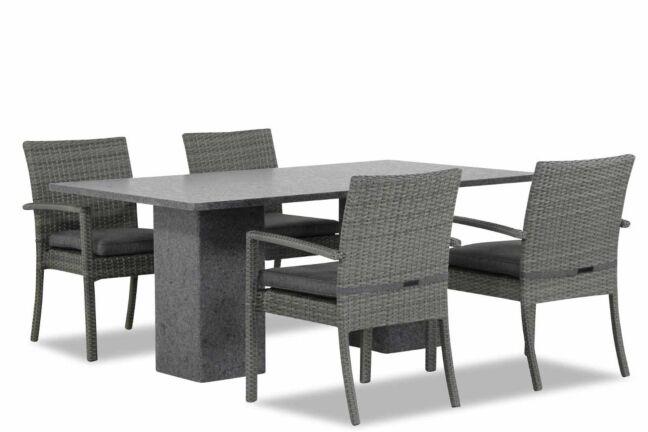Domani Solarino/Graniet 180 cm dining tuinset 5-delig stapelbaar