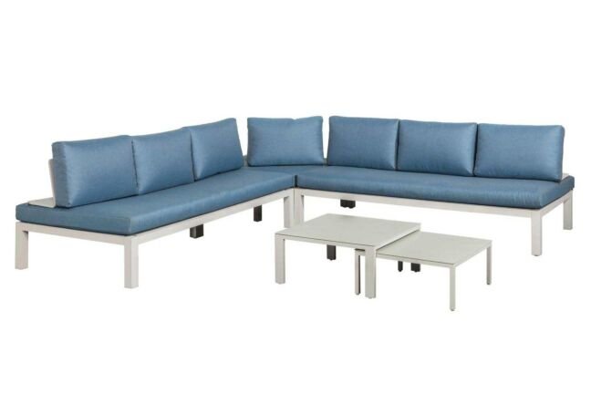 Famous Furniture Easy loungeset white/ blue cushions