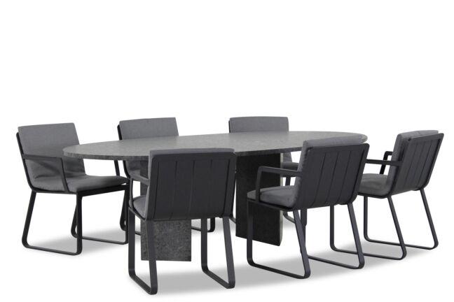Lifestyle Estancia/Graniet ovaal 240 cm dining tuinset 7-delig