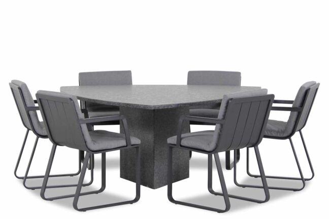 Lifestyle Estancia/Graniet triangel 170 cm dining tuinset 7-delig