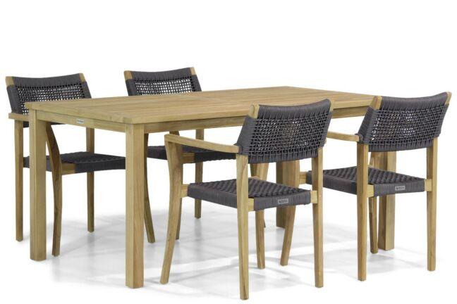 Houten tuintafel met 6 outdoor textiel stoelen