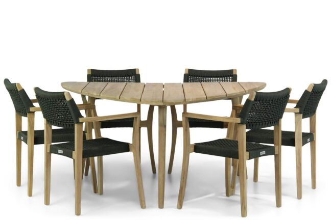 Lifestyle Dallas/Julia 155 cm triangel dining tuinset 7-delig