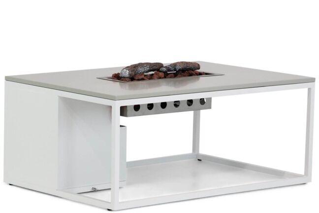 Cosiloft lounge vuurtafel 120x80 cm White frame met grey alu blad