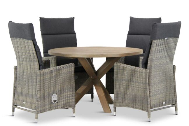 Garden Collection Madera/Sand City rond 120 cm dining tuinset 5-delig