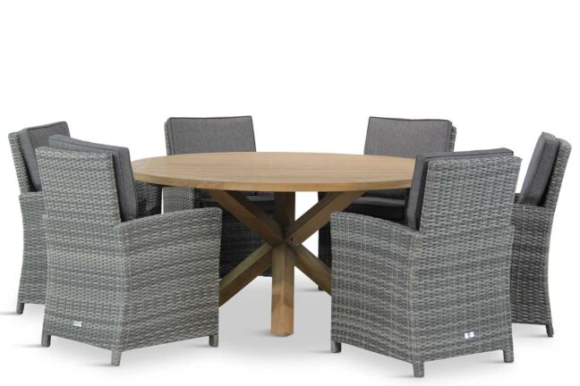 Domani Malta/Sand City rond 160 cm dining tuinset 7-delig