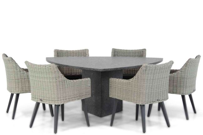 Garden Collections Milton/Graniet 170 cm triangel dining tuinset 7-delig