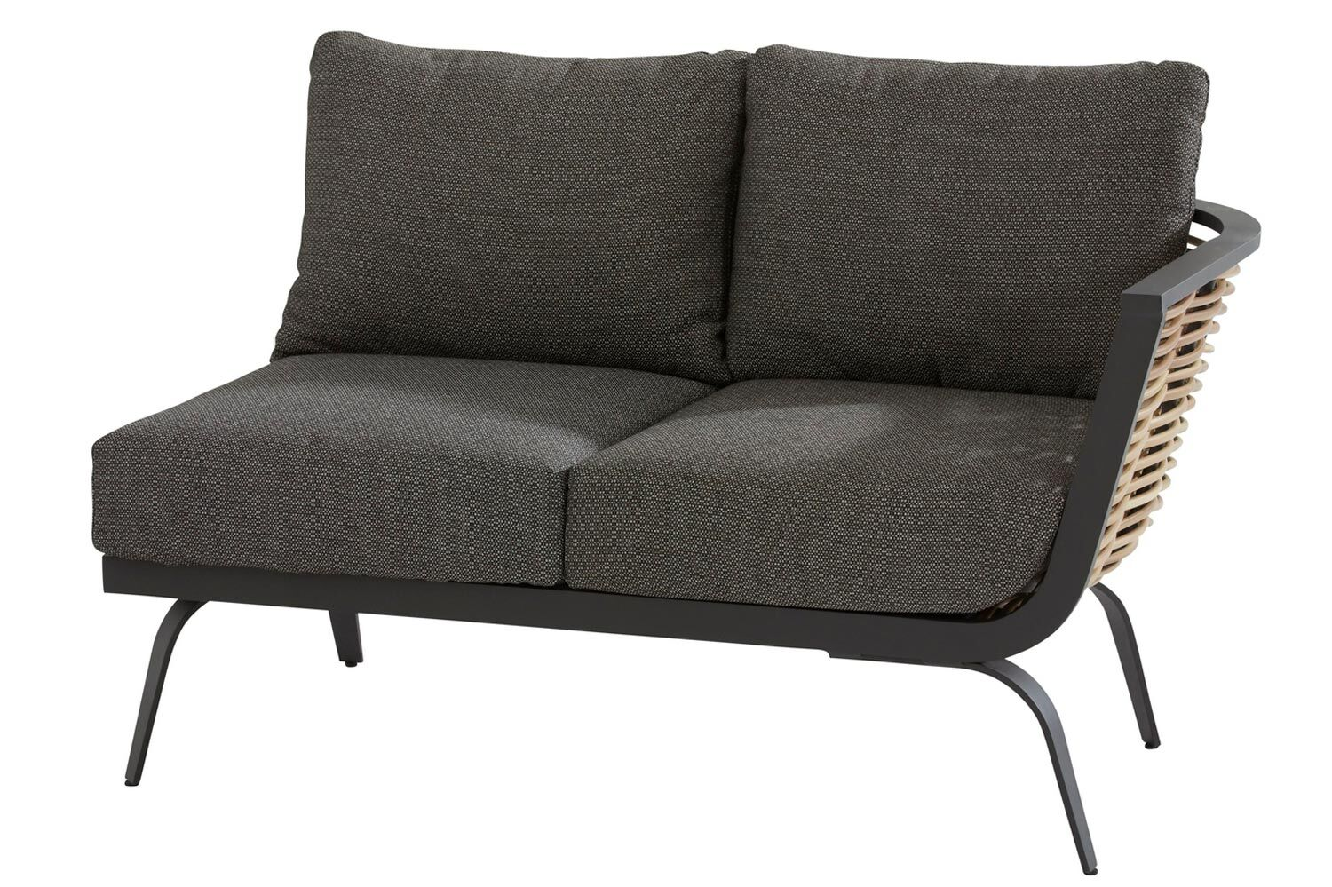 4 Seasons Outdoor Antibes 2 seater bench left arm with cushion and 3 pillows