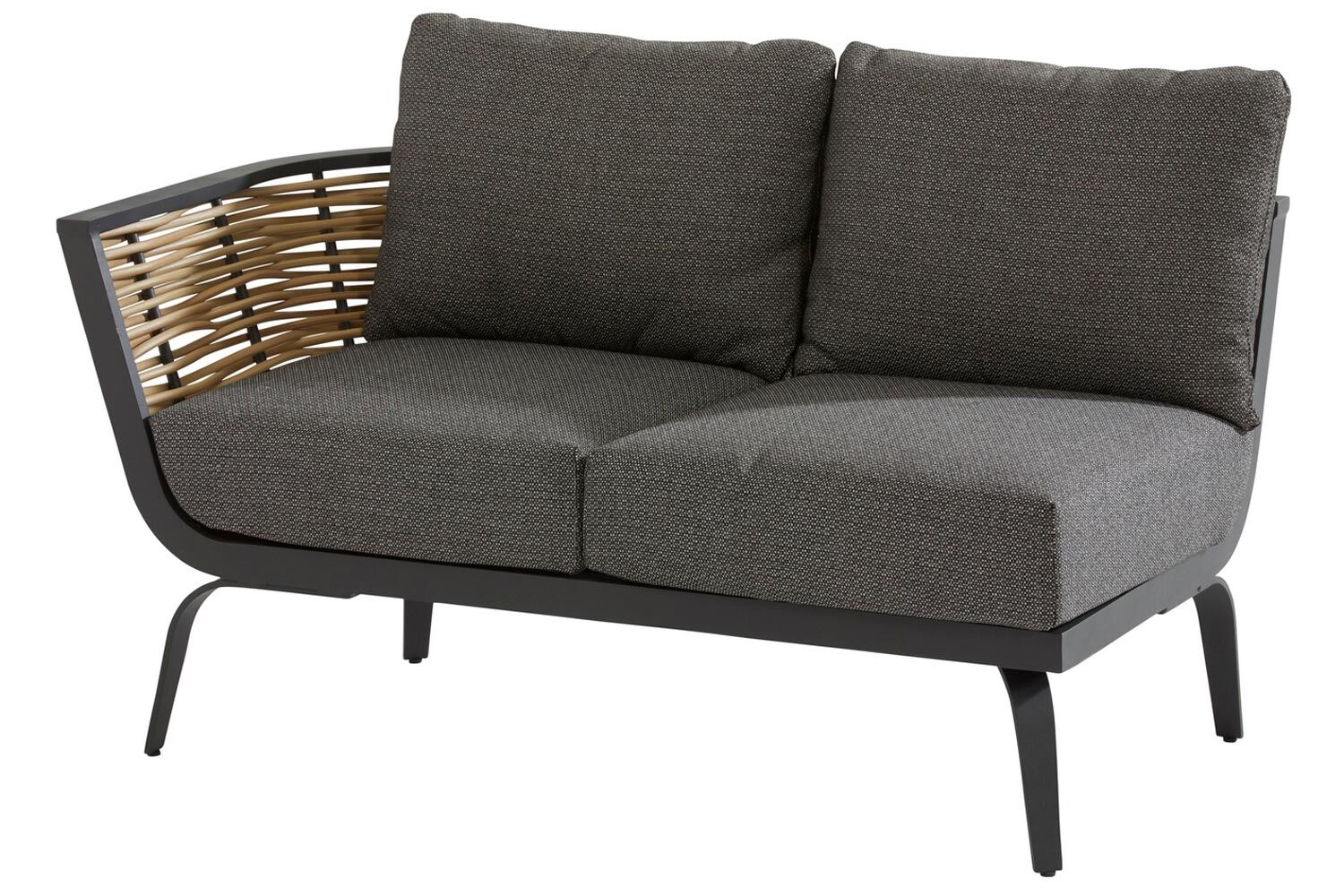 4 Seasons Outdoor Antibes 2 seater bench right arm with cushion and 3 pillows