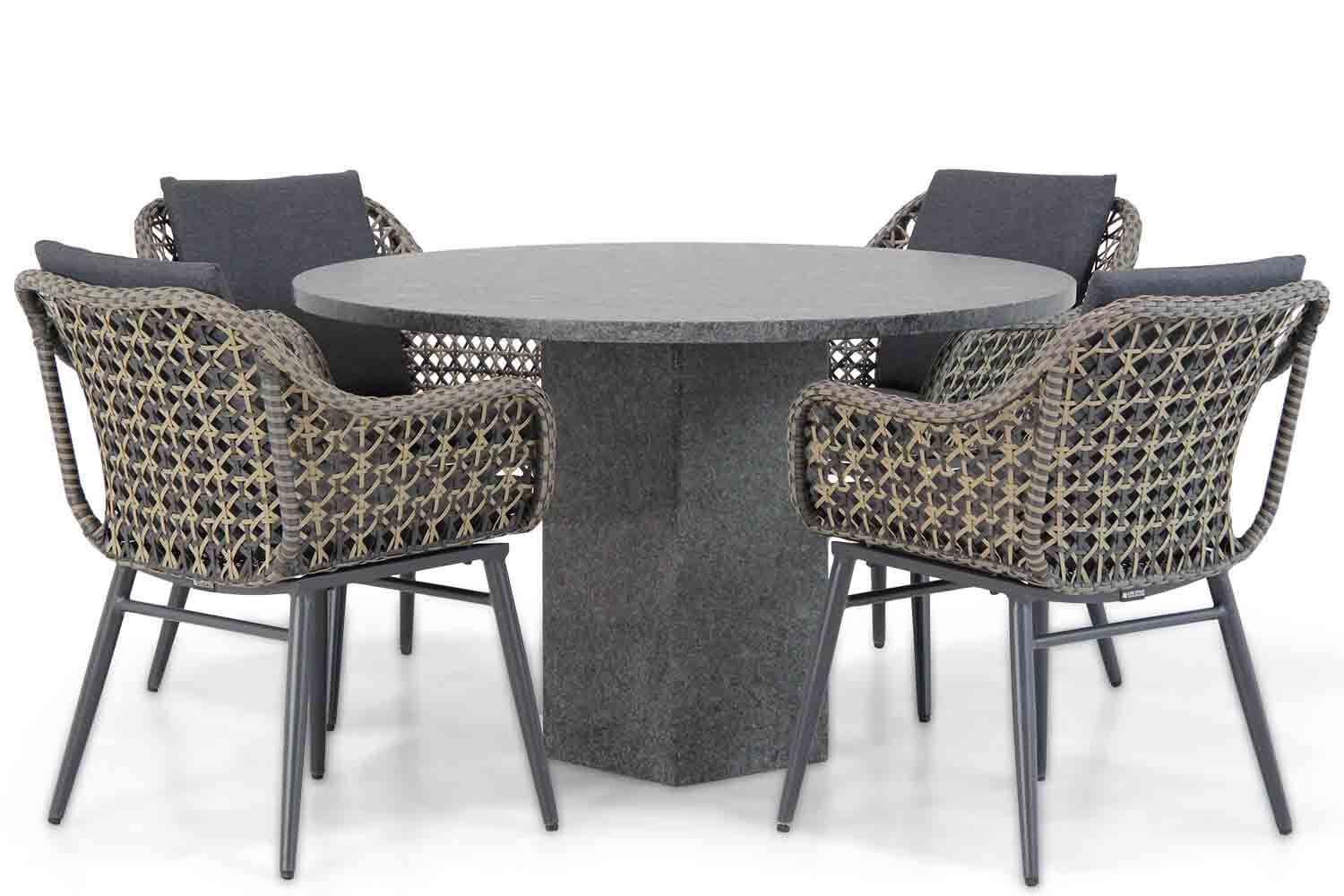 Lifestyle Dolphin/Graniet rond 120 cm dining tuinset 5-delig