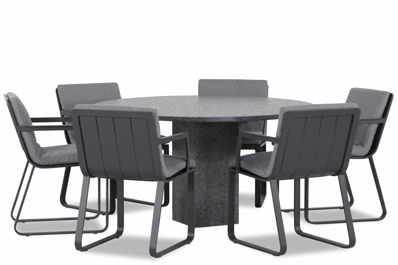 Lifestyle Estancia/Graniet rond 140 cm dining tuinset 7-delig