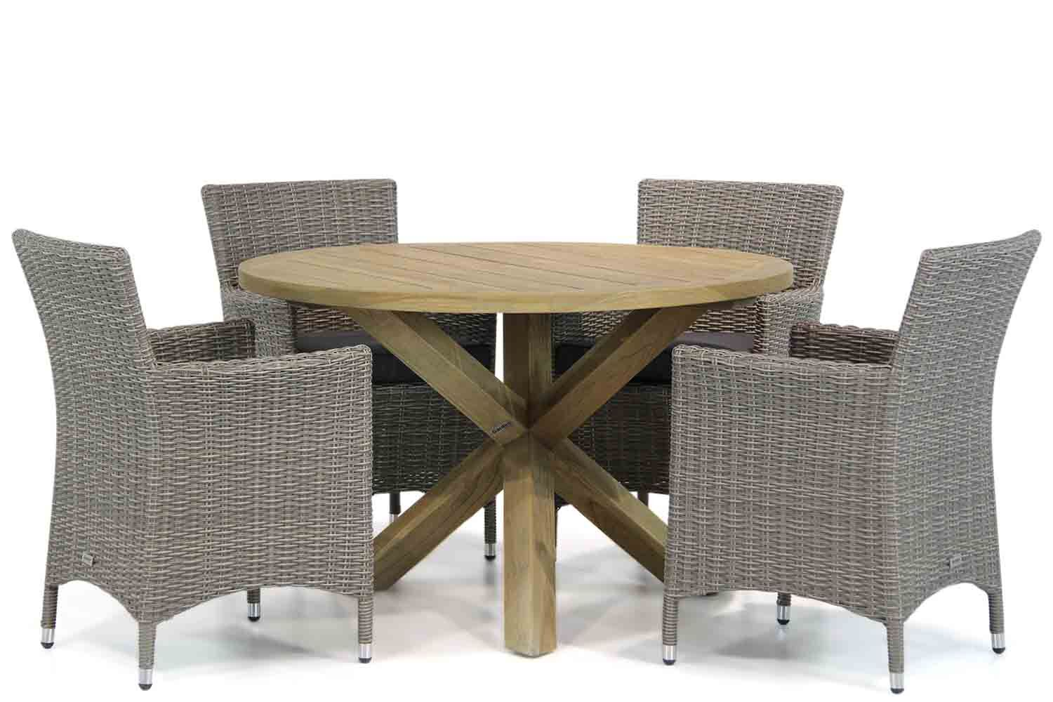 Garden Collections Dublin/Sand City 120 cm rond dining tuinset 5-delig