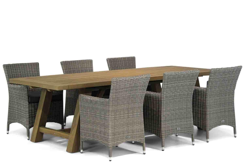 7 delige tuinset | 6 Dublin stoelen | Teak tuintafel 240cm