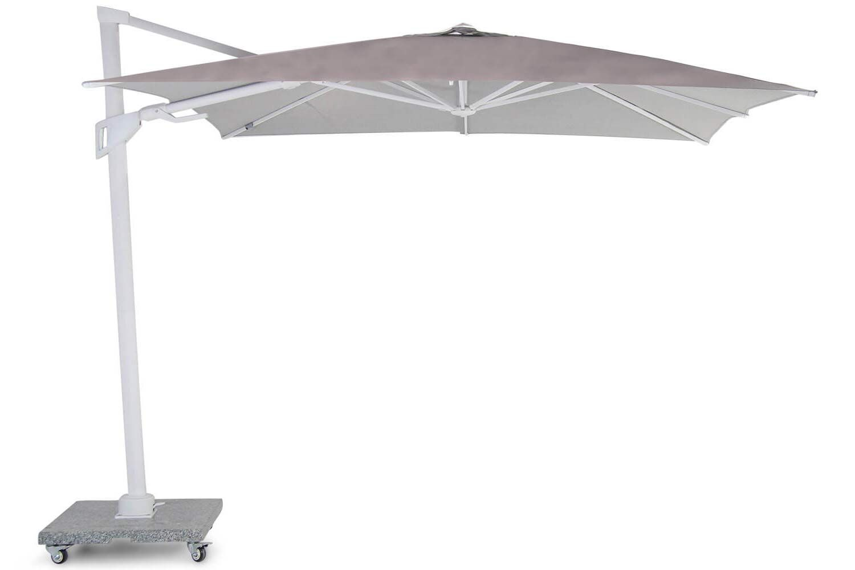 Santika Belize Deluxe parasol 300x300 white frame/ grey fabric