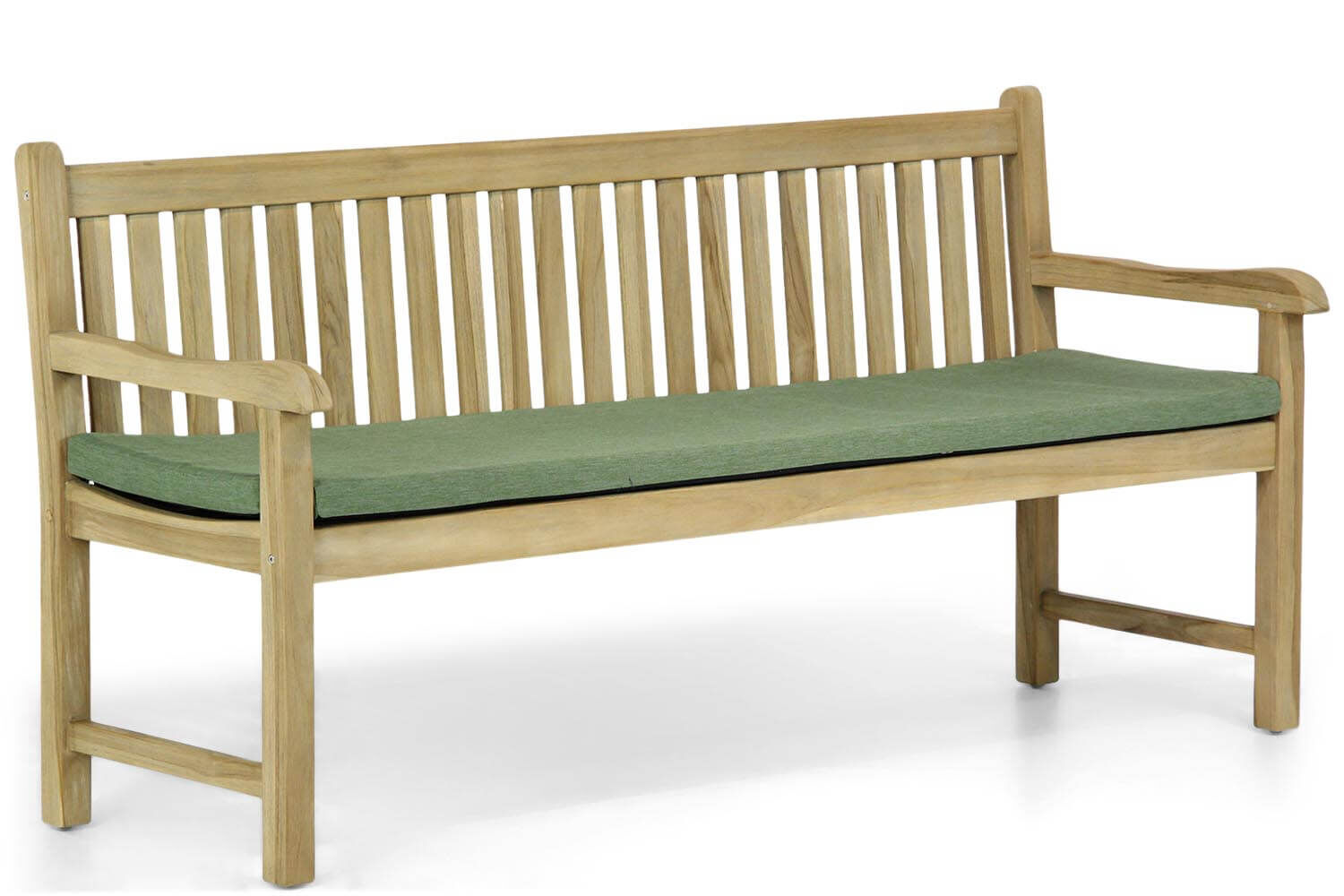 Garden Collections Preston tuinbank teak 180 cm incl. forest green kussen