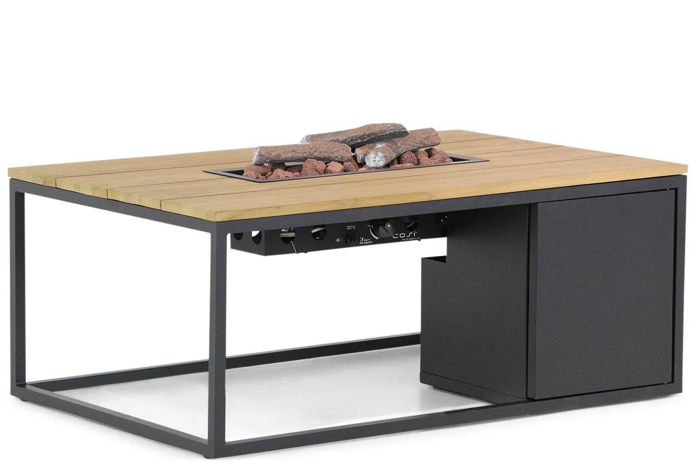 Cosiloft lounge vuurtafel 120x80cm black frame/ teak blad