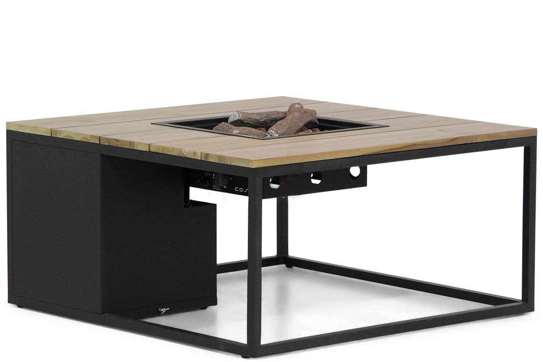 Cosiloft lounge vuurtafel 100 x 100 cm black frame / teak blad