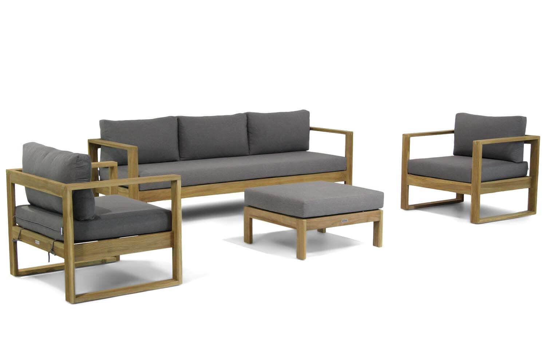 Lifestyle Marriott stoel-bank loungeset incl. hocker kussen 4-delig