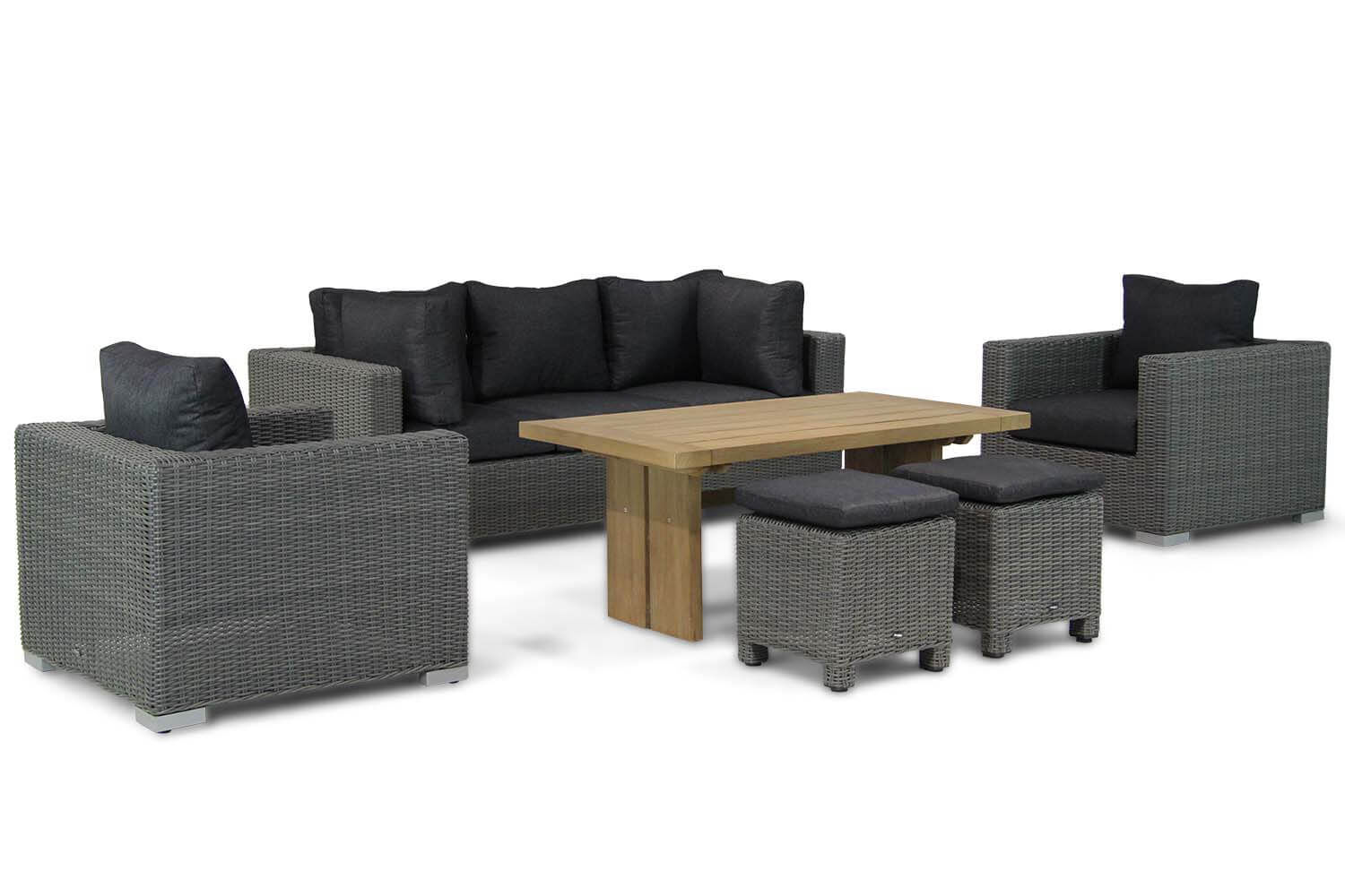 Garden Collections Toronto/Brighton 140 cm stoel-bank loungeset 6-delig
