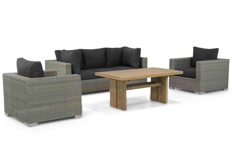 Garden Collections Toronto/Brighton 140 cm stoel-bank loungeset 4-delig
