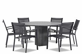 Lifestyle Amarilla/Graniet rond 140 cm dining tuinset 7-delig stapelbaar