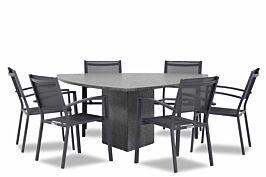 Lifestyle Amarilla/Graniet triangel 170 cm dining tuinset 7-delig stapelbaar