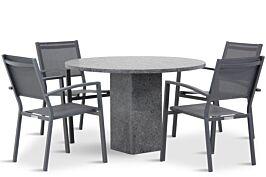 Lifestyle Amarilla/Graniet rond 120 cm dining tuinset 5-delig stapelbaar