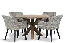 Garden Collections Milton/Sand City rond 120 cm dining tuinset 5-delig