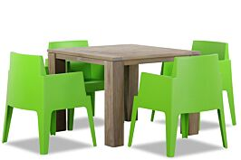 Lifestyle Box/Brighton 100 cm dining tuinset 5-delig stapelbaar