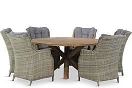 Garden Collections Buckingham/Sand City rond 160 cm dining tuinset 7-delig