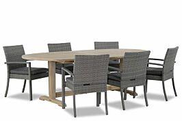 Domani Solarino/Brighton ovaal 240x120 cm dining tuinset 7-delig stapelbaar