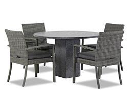 Domani Solarino/Graniet rond 120 cm dining tuinset 5-delig stapelbaar