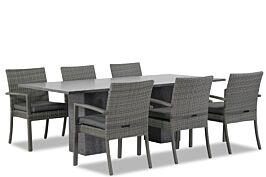 Domani Solarino/Graniet 220 cm dining tuinset 7-delig stapelbaar