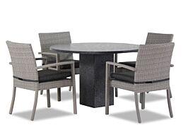 Domani Solarino/Graniet rond 120 cm dining tuinset 5-delig