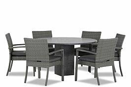 Domani Solarino/Graniet rond 140 cm dining tuinset 7-delig stapelbaar