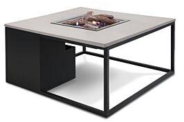 Cosiloft lounge vuurtafel 100 x 100 cm black frame / alu grey blad