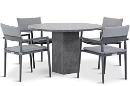 Lifestyle Dego/Graniet 120 cm rond dining tuintafel 5-delig