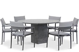 Lifestyle Dego/Graniet 140 cm rond dining tuinset 7-delig