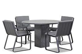 Lifestyle Estancia/Graniet rond 120 cm dining tuinset 5-delig