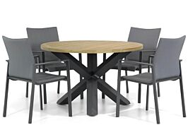Lifestyle Rome/Rockville 120 cm rond dining tuinset 5-delig