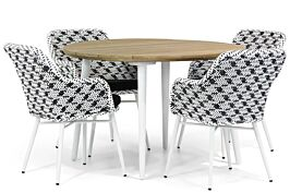 Lifestyle Crossway/Montana 130 cm rond dining tuinset 5-delig
