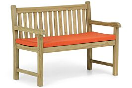 Garden Collections Preston tuinbank teak 120 cm incl. kussen orange