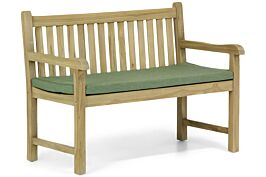 Garden Collections Preston tuinbank teak 120 cm incl. kussen forest green