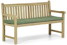 Garden Collections Preston tuinbank teak 150 cm incl. forest green kussen