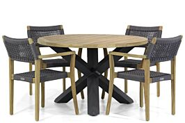 Lifestyle Dallas/Rockville 120 cm rond dining tuinset 5-delig