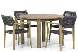 Lifestyle Dallas/Brighton 120 cm rond dining tuinset 5-delig