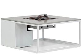 Cosiloft lounge vuurtafel white frame/grey alu blad