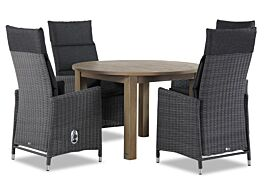 Garden Collections Madera/Brighton rond 120 cm dining tuinset 5-delig